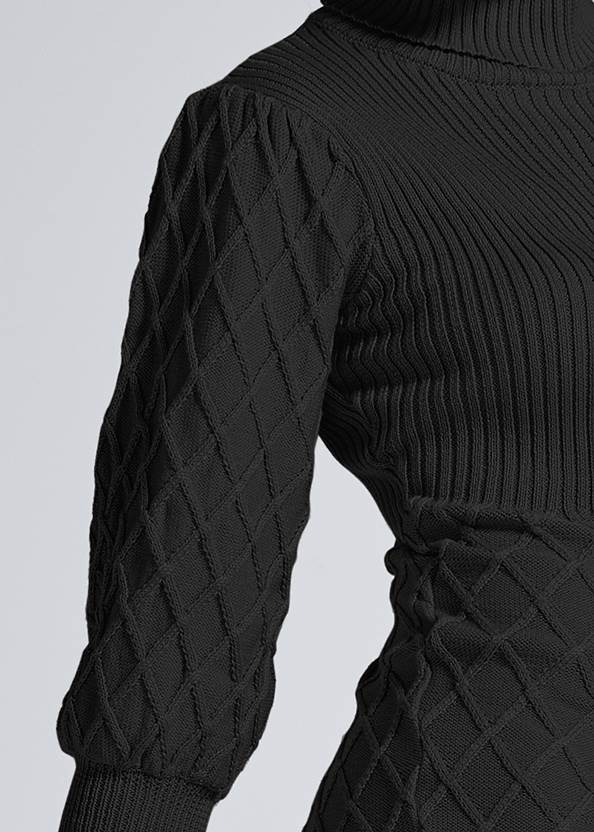 Alternate View Puff Detail Sweater Dress