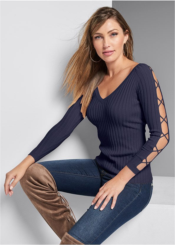 Sleeve Detail Sweater,Mid Rise Color Skinny Jeans,Naked T-Shirt Bra,Over The Knee Stretch Boots,Pearl Hoop Earring Set