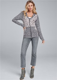 Front View Heather Lace Lounge Jacket
