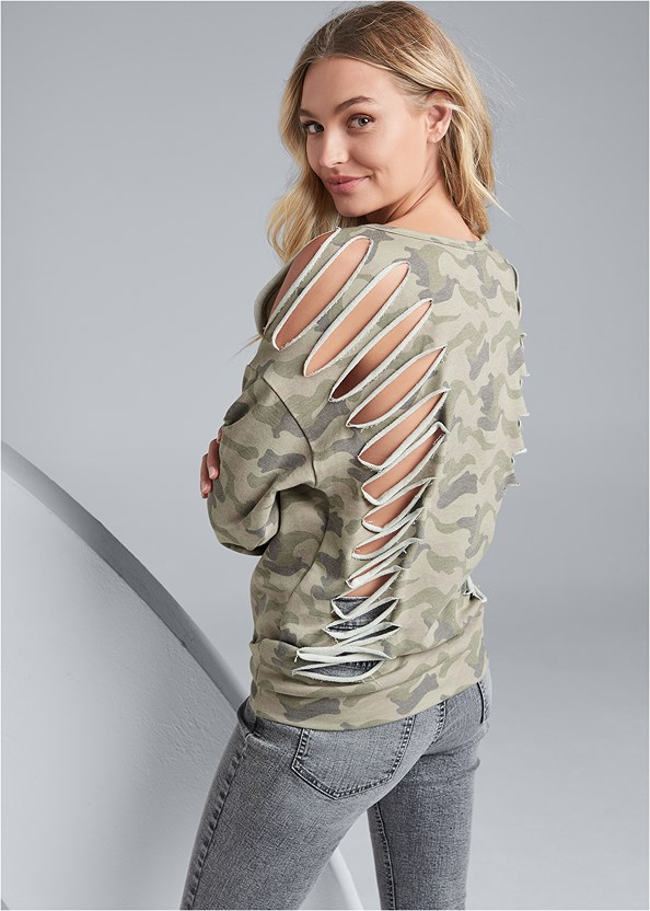 Slash Detail Sweatshirt,Strap Solutions