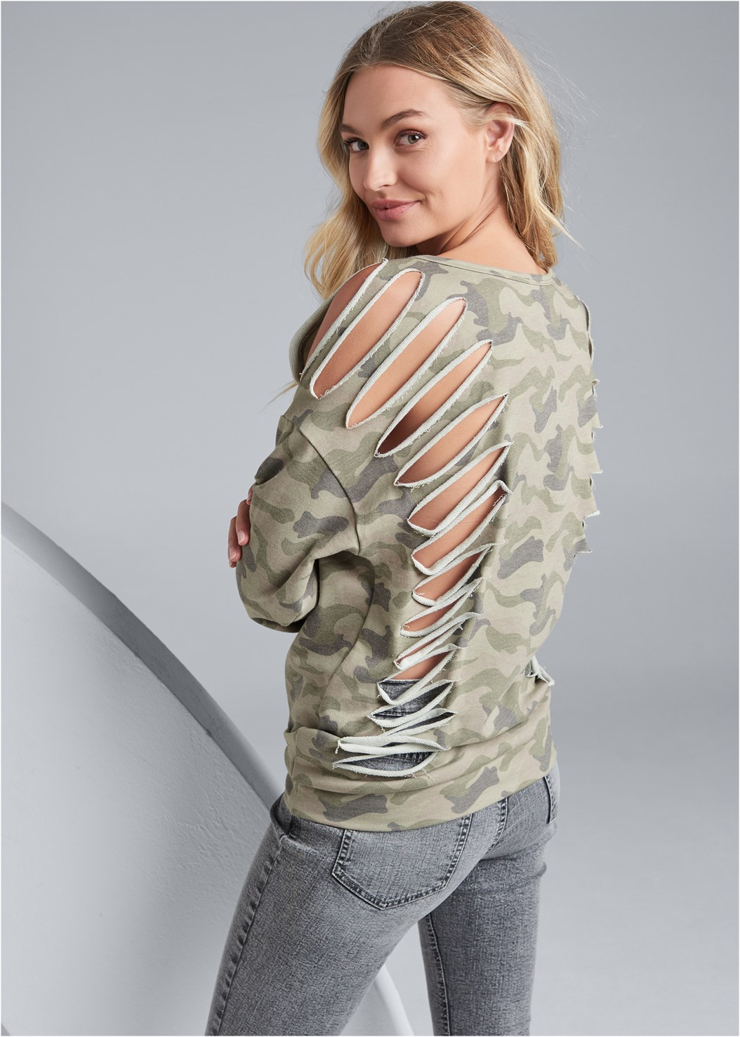 Slash Detail Sweatshirt,Washed Kick Flare Jeans,Ribbed Bandeau,Wrap Stitch Detail Booties