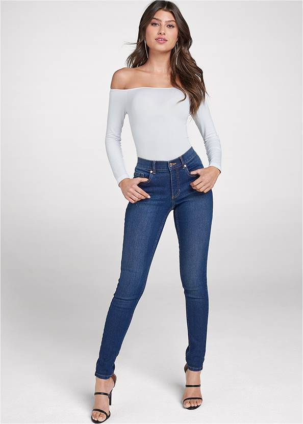 Mid Rise Color Skinny Jeans,Off The Shoulder Top,Ring Detail Keyhole Top,High Heel Strappy Sandals,Metal Ring Crossbody Bag