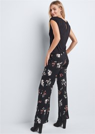 Back View Casual Floral Jumpsuit