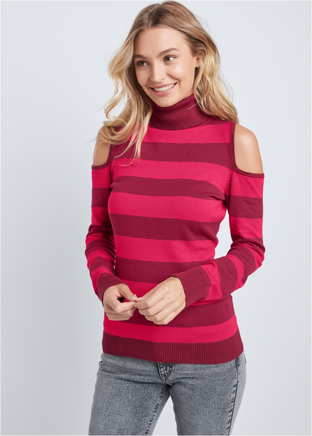 Striped Turtleneck Sweater,Washed Kick Flare Jeans,Casual Bootcut Jeans,Push Up Bra Buy 2 For $40,Open Heel Booties