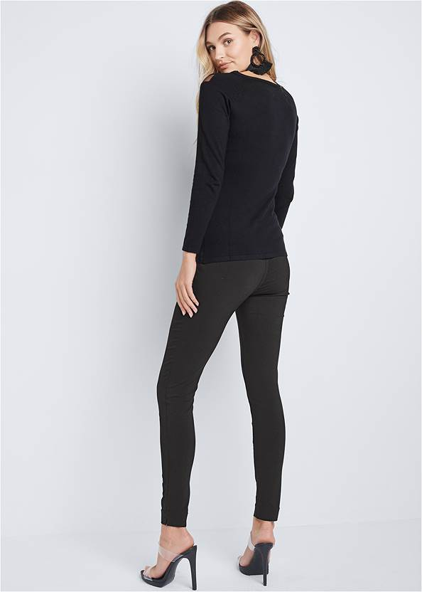 Back View Mesh Detail Sweater