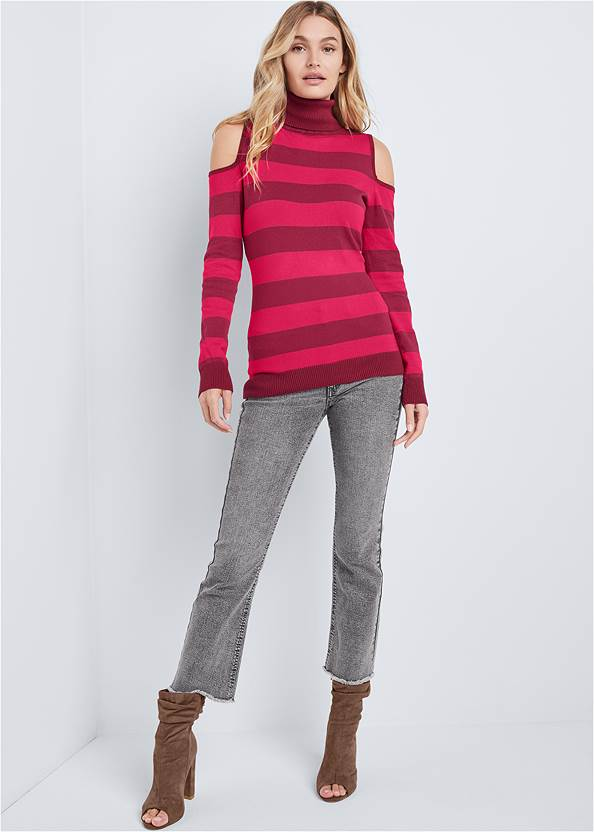 Alternate View Striped Turtleneck Sweater