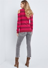 Back View Striped Turtleneck Sweater
