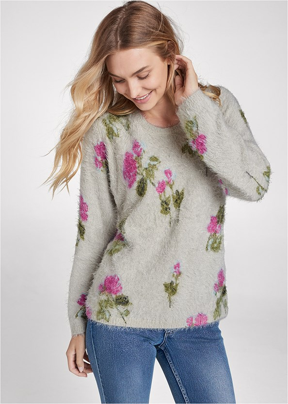 Floral Cozy Sweater,Casual Bootcut Jeans,Seamless Lace Comfort Bra