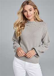 Front View Pearl Detail Sweater
