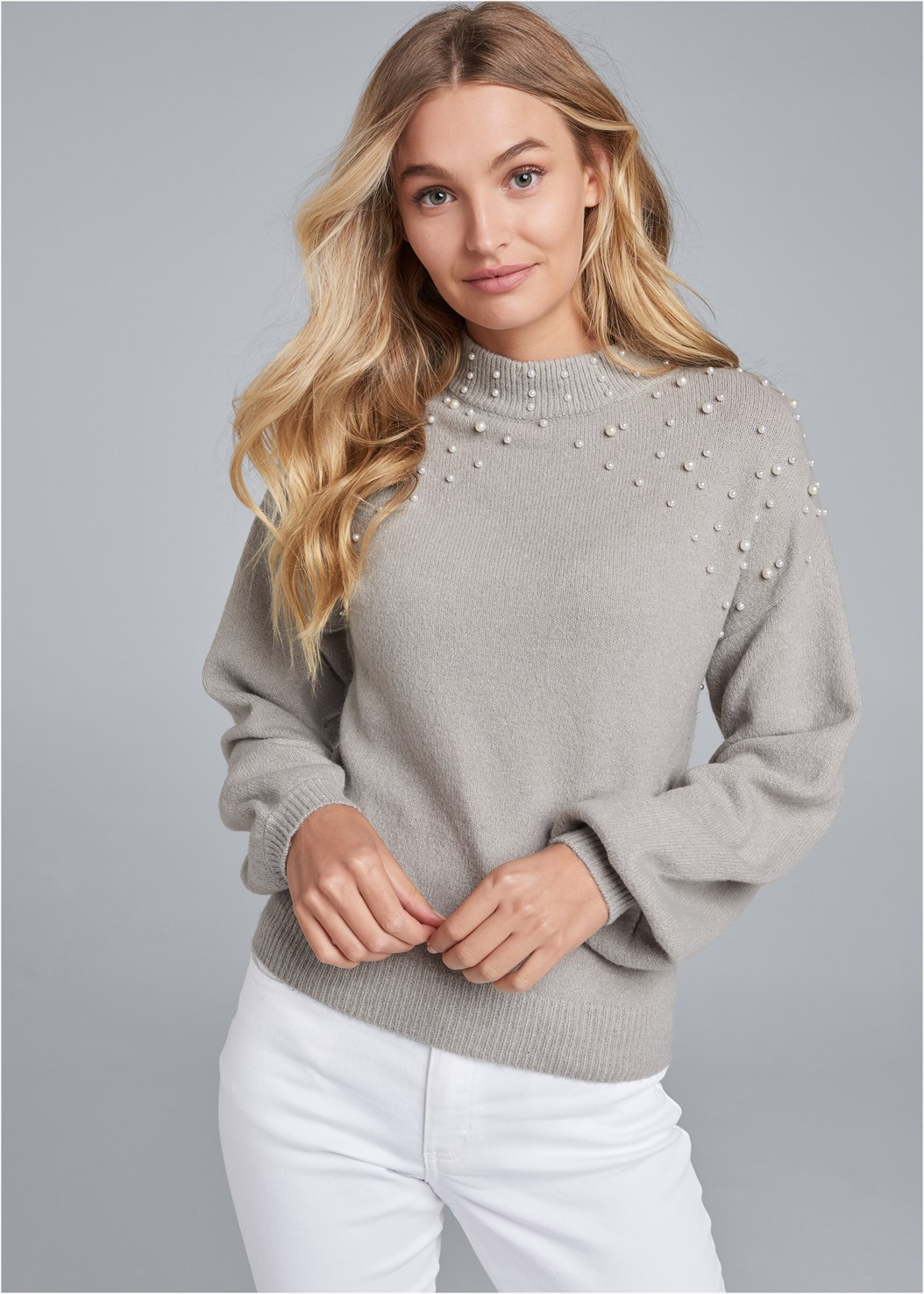 Pearl Detail Sweater,Mid Rise Color Skinny Jeans