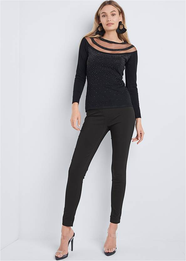Full front view Mesh Detail Sweater