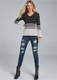 Front View Back Detail Striped Sweater