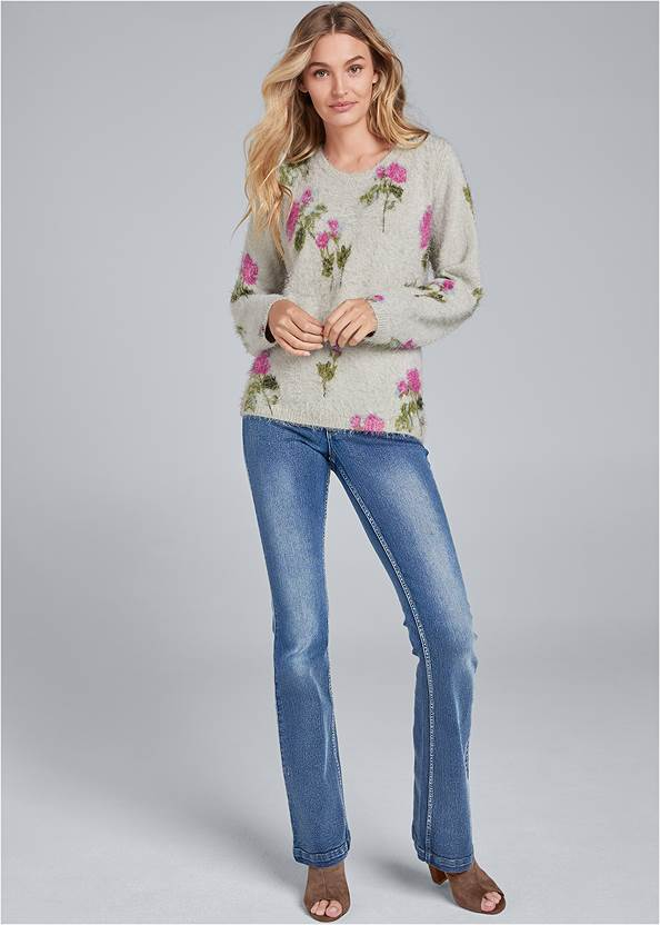 Front View Floral Cozy Sweater