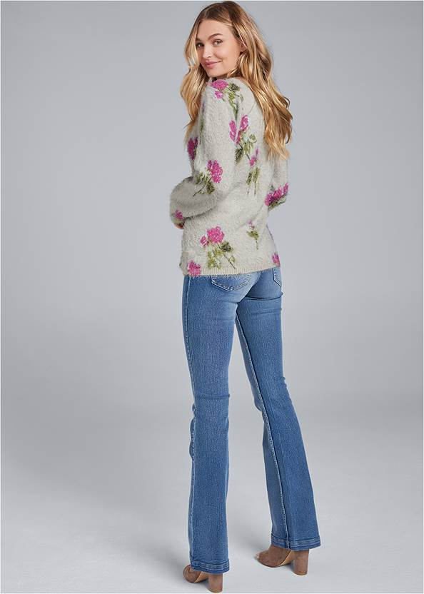 Back View Floral Cozy Sweater