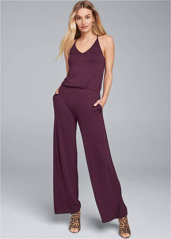 Front View Strappy Back Jumpsuit