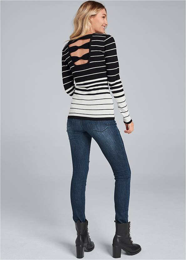 Alternate View Back Detail Striped Sweater