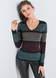 Cropped Front View Color Block Sweater