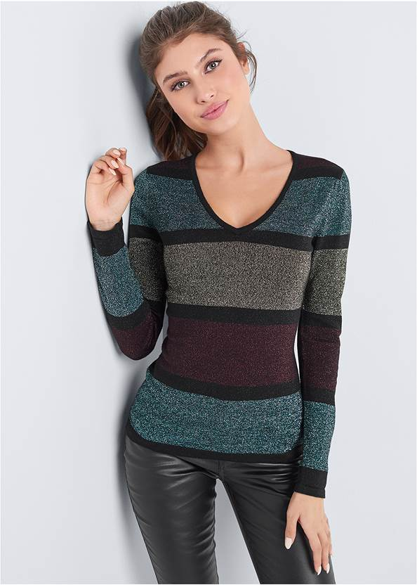 Color Block Sweater,Faux Leather Pants,Mid Rise Slimming Stretch Jeggings