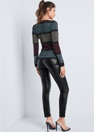 Back View Color Block Sweater