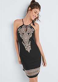 Front View Printed Keyhole Dress