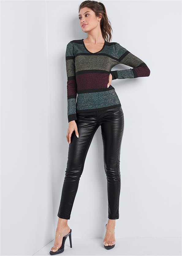 Front View Color Block Sweater