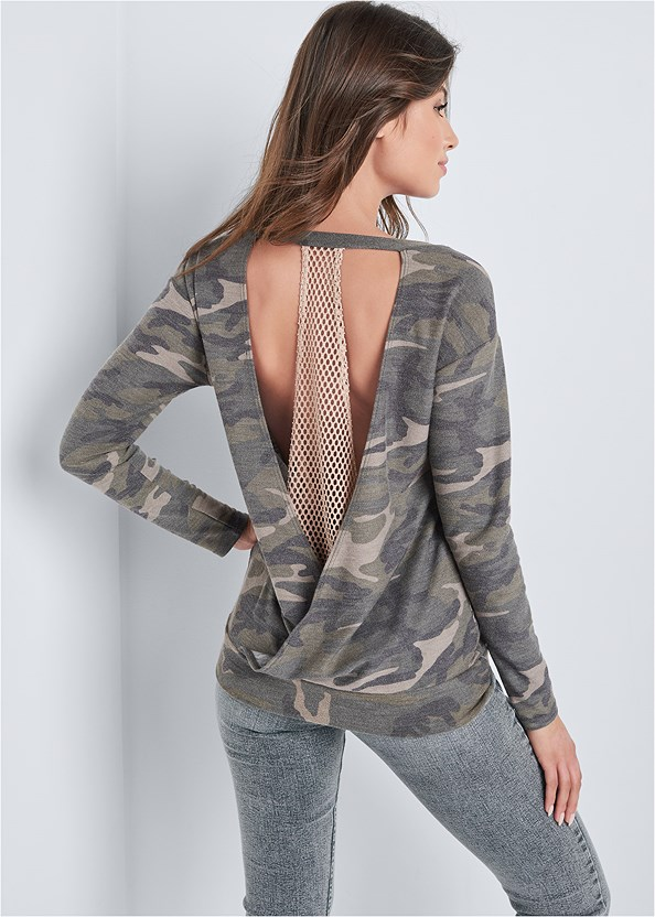 Camo Open Back Lounge Top,Washed Kick Flare Jeans