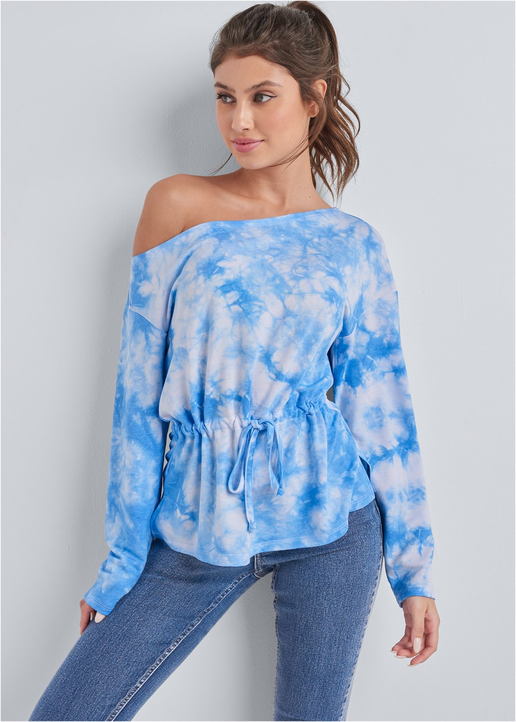 Mineral Wash Off Shoulder Sweatshirt,Mid Rise Color Skinny Jeans,Strapless Bra With Geo Lace,Embellished Striped Sneaker