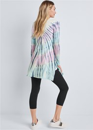 Full back view Paisley Print Tie Dye Lounge Cardigan