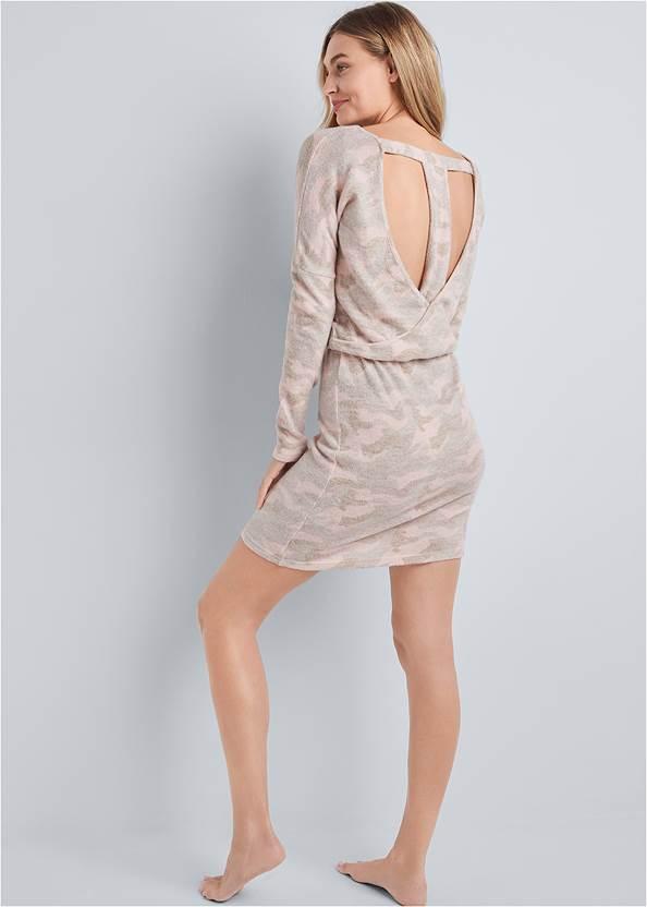 Back View Cozy Hacci Camo Print Dress