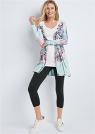 Full front view Paisley Print Tie Dye Lounge Cardigan