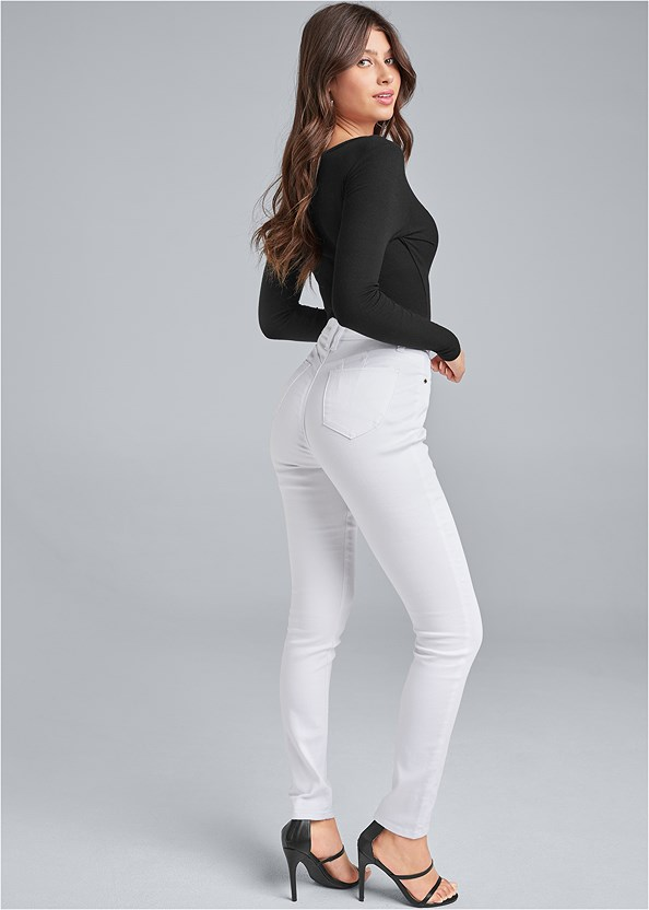 Bum Lifter Jeans,Ribbed V-Neck Top,Button Up Bodysuit,High Heel Strappy Sandals