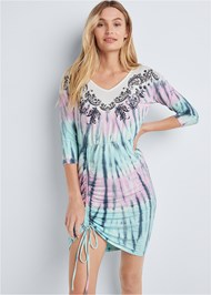 Cropped front view Paisley Print Tie Dye Lounge Dress
