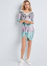 Full front view Paisley Print Tie Dye Lounge Dress