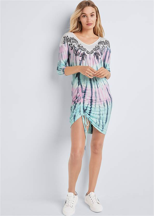 Full front view Paisley Print Tie Dye Lounge Dress