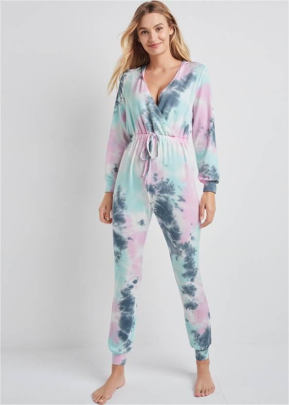 Surplice Lounge Jumpsuit,Cozy Sleep Robe