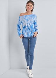 Full front view Mineral Wash Off Shoulder Sweatshirt