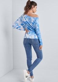 Full back view Mineral Wash Off Shoulder Sweatshirt