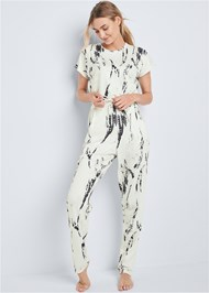 Front View Tie Dye Lounge Jumpsuit