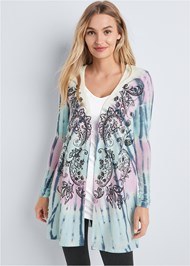 Cropped front view Paisley Print Tie Dye Lounge Cardigan
