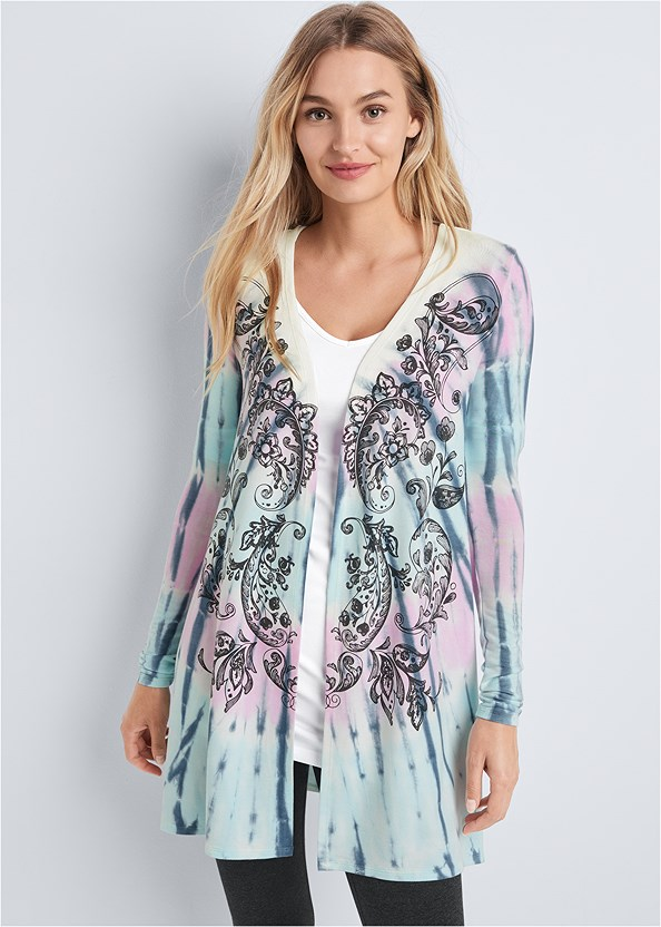 Paisley Print Tie Dye Lounge Cardigan,Long And Lean V-Neck Tee,Capri Legging Two Pack