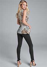 Full back view Animal Print Belted Top