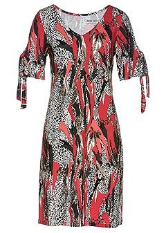 mixed print casual dress