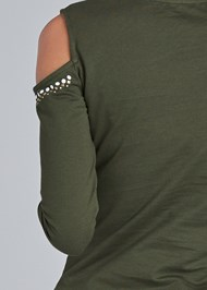 Detail back view Tie Waist Cold Shoulder Top