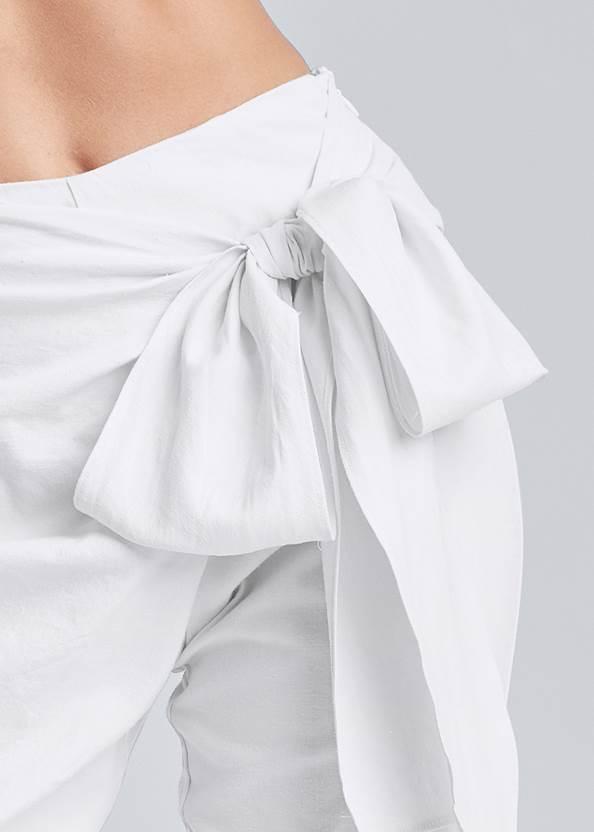 Detail front view Linen Wrap Front Pants