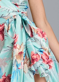 Detail front view Floral Print Wrap Dress