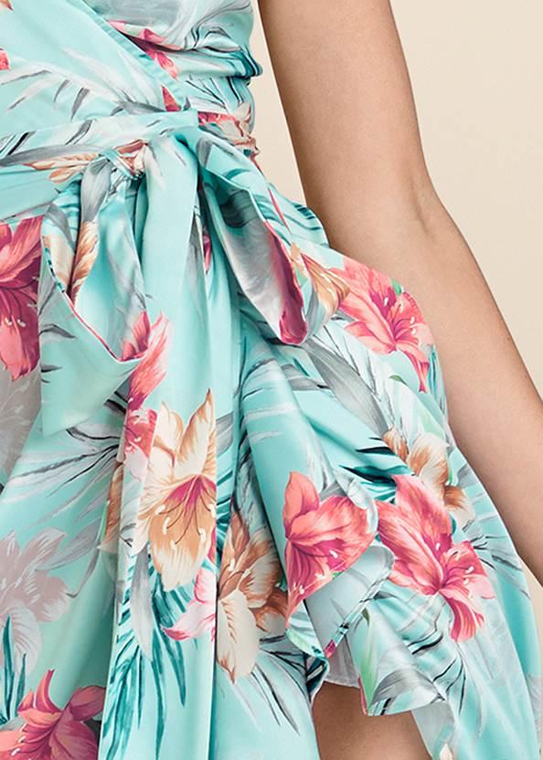 Detail front view Floral Print Wrap Dress