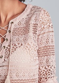 Alternate View Lace Up Detail Lace Top
