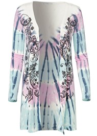 Ghost with background  view Paisley Print Tie Dye Lounge Cardigan