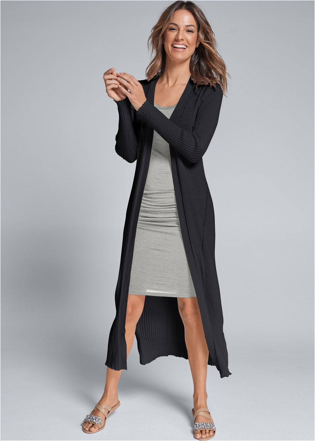 Long Ribbed Duster,Sleeveless Scoop Neck Ruched Bodycon Midi Dress,Buckle Riding Boots,Medallion Earrings