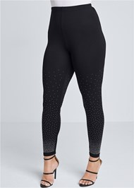 Cropped Front View Rhinestone Detail Leggings